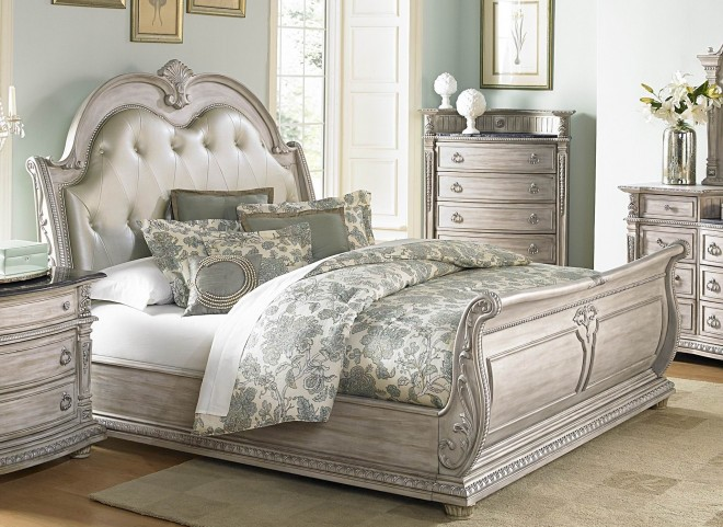 Palace II White Wash Bonded Leather Sleigh Bedroom Set
