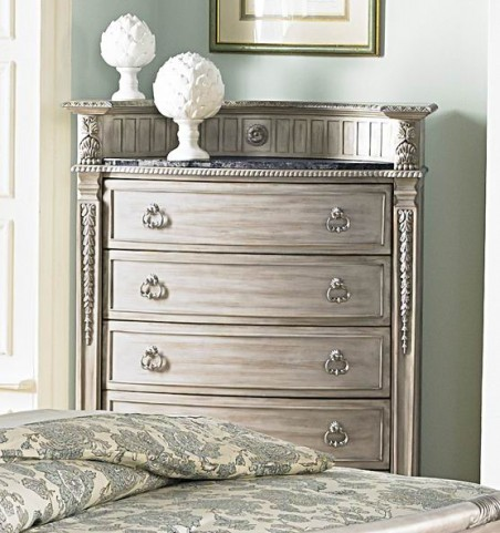 Palace II White Wash Marble Insert Chest