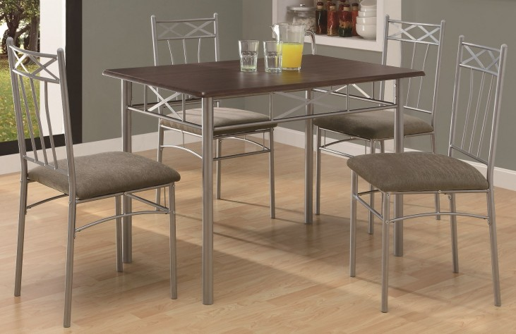 1020 Cappuccino / Silver Metal 5Pcs Dining Set