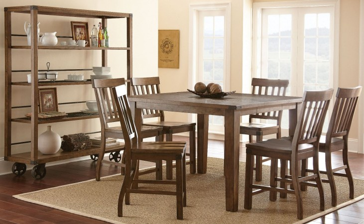 Hailee Antique Oak Extendable Square Counter Height Dining Room Set