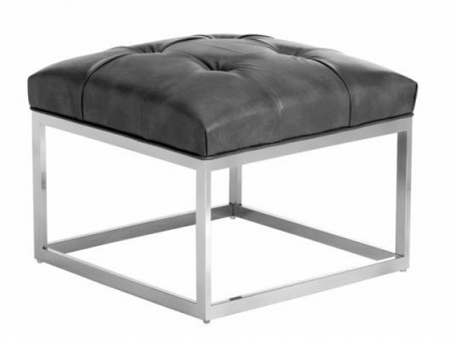 Sutton Grey Leather Small Square Ottoman