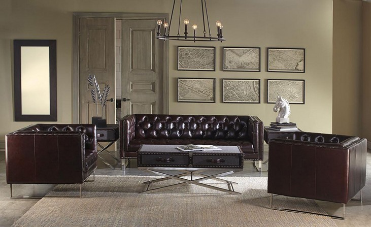 Bordeaux Cranberry Leather Living Room Set