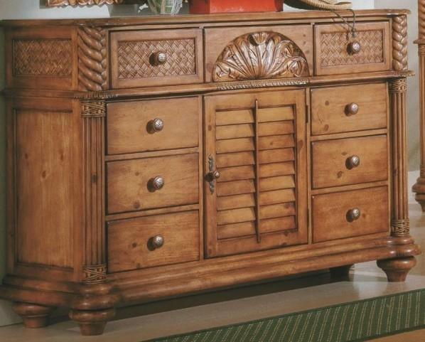 Palm Court Island Pine Triple Dresser