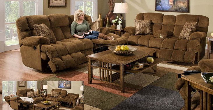 Concord Pecan Reclining Living Room Set