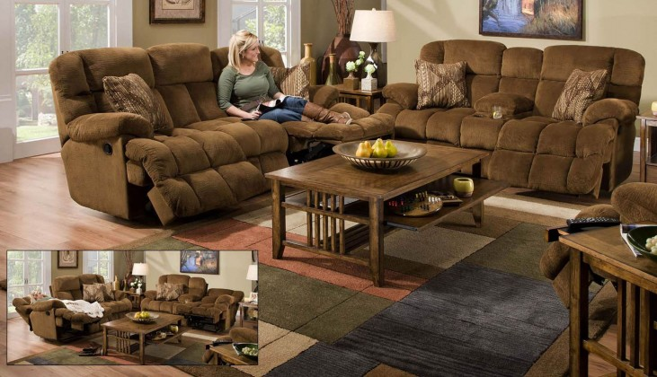 Concord Pecan Power Reclining Living Room Set