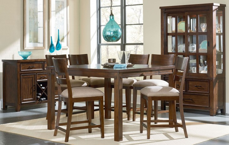 Cameron Golden Tobacco Brown Square Counter Height Dining Room Set