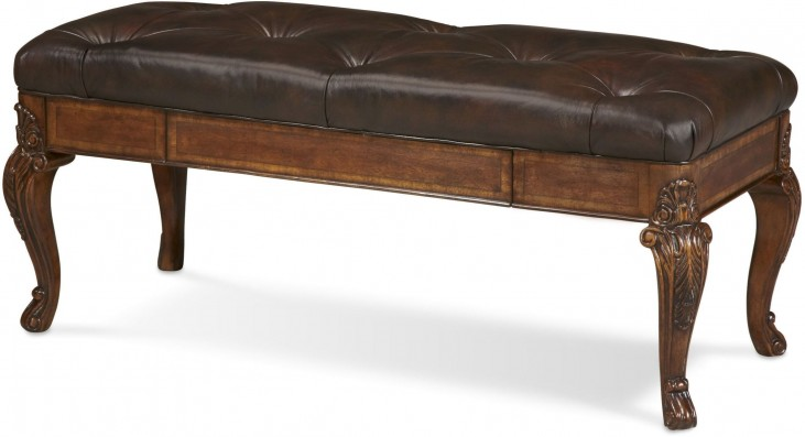 Old World Storage Leather Bench