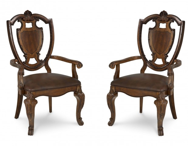 Old World Shield Back Arm Chair Set of 2