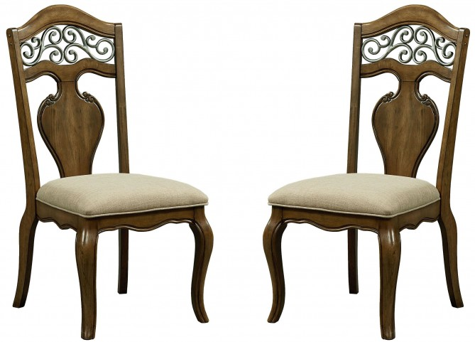 Monterey Caramel Brown Pine Side Chair Set of 2