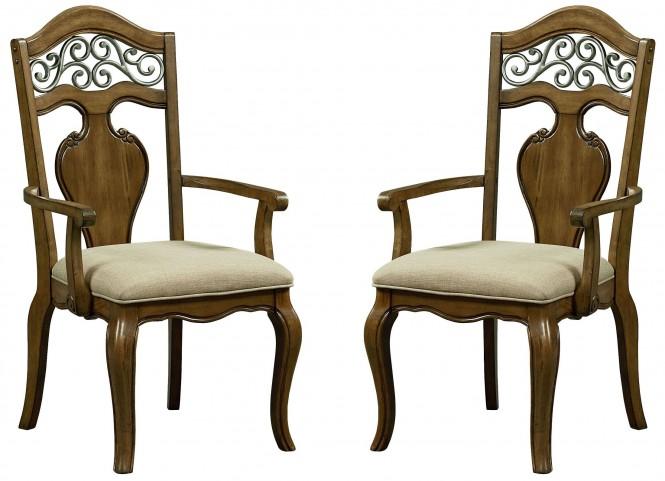Monterey Caramel Brown Pine Arm Chair Set of 2