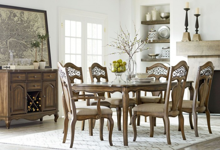 Monterey Caramel Brown Pine Extendable Rectangular Leg Dining Room Set