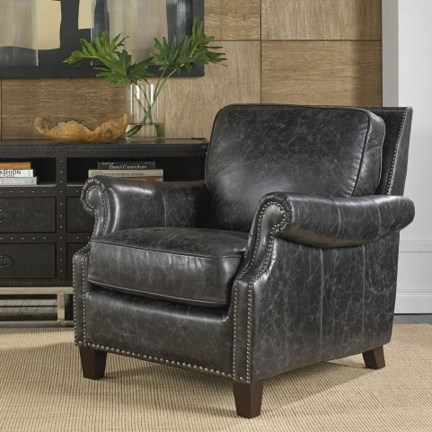 Nathan Charcoal Leather Chair