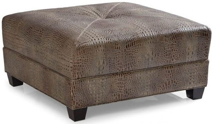 Montgomery Gator Tail Burnished Cocktail Leather Ottoman