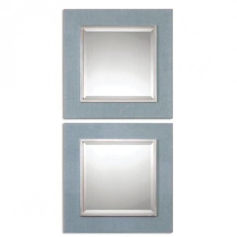 Tory Denim Square Mirrors Set of 2