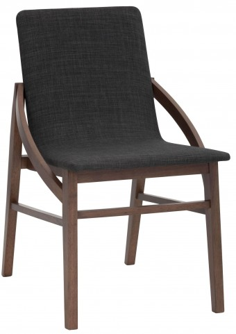 Century Black Linen Fabric Dining Chair Set of 2