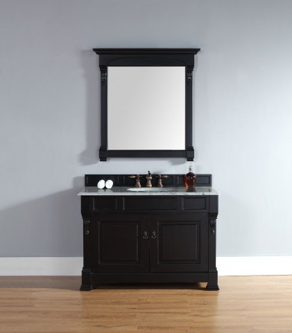 "Brookfield 48"" Antique Black Single Vanity With 2Cm Carerra White Marble Top"