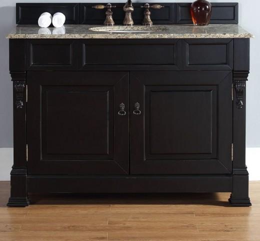 """Brookfield 48"""" Antique Black Single Vanity With 2Cm Santa Cecilia Granite Top"""