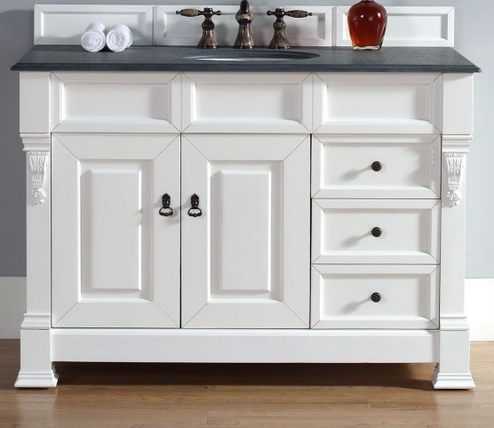 "Brookfield 48"" Cottage White Single Vanity With 2Cm Black Granite Top"
