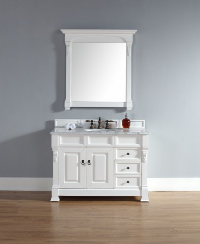 "Brookfield 48"" Cottage White Single Vanity With 2Cm Carerra White Marble Top"