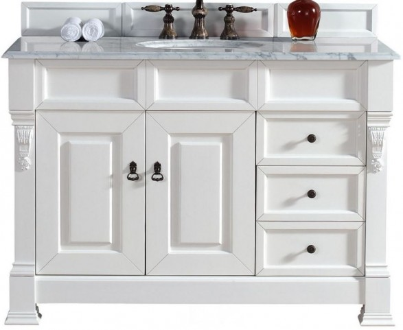 """Brookfield 48"""" Cottage White Single Vanity With 2Cm Carerra White Marble Top"""