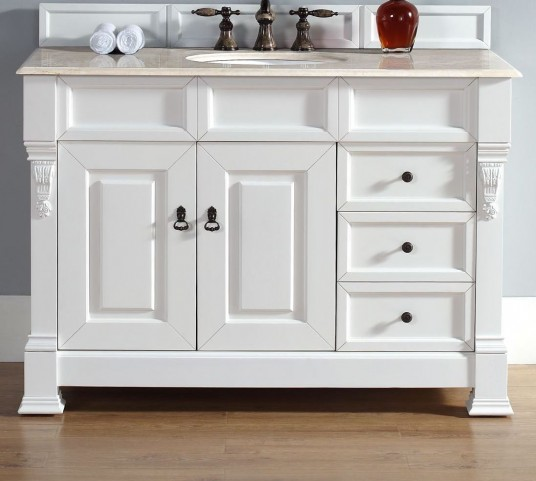 """Brookfield 48"""" Cottage White Single Vanity With 2Cm Galala Beige Marble Top"""