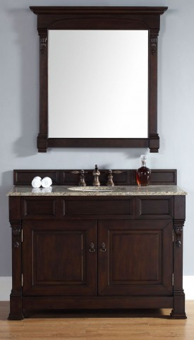"Brookfield 48"" Burnished Mahogany Single Vanity With 2Cm Santa Cecilia Granite Top"