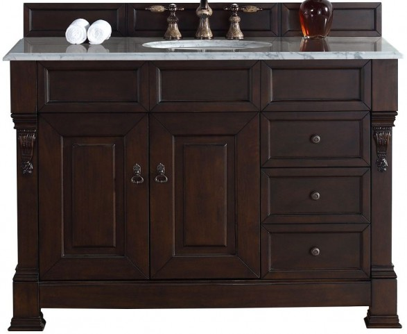 """Brookfield 48"""" Burnished Mahogany Single Vanity With 2Cm Carerra White Marble Top"""