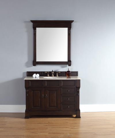 "Brookfield 48"" Burnished Mahogany Single Vanity With 2Cm Galala Beige Marble Top"