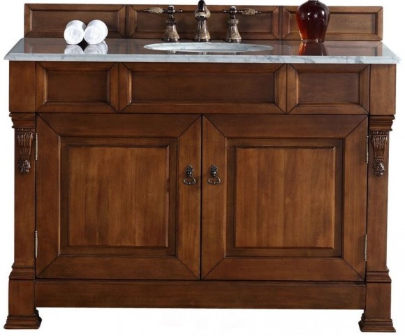 """Brookfield 48"""" Country Oak Single Vanity With 2Cm Carerra White Marble Top"""