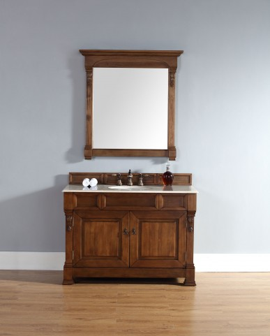 "Brookfield 48"" Country Oak Single Vanity With 2Cm Galala Beige Marble Top"