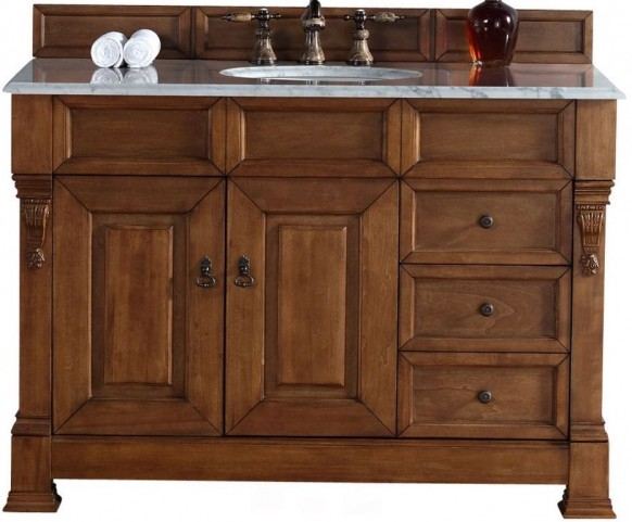 "Brookfield 48"" Country Oak Single Vanity With 2Cm Carerra White Marble Top"