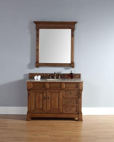 "Brookfield 48"" Country Oak Single Vanity With 2Cm Santa Cecilia Granite Top"