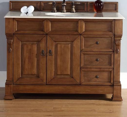 """Brookfield 48"""" Country Oak Single Vanity With 2Cm Galala Beige Marble Top"""