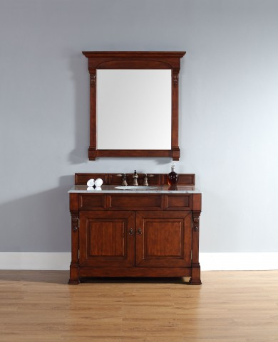 "Brookfield 48"" Warm Cherry Single Vanity With 2Cm Carerra White Marble Top"