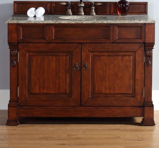 "Brookfield 48"" Warm Cherry Single Vanity With 2Cm Santa Cecilia Granite Top"