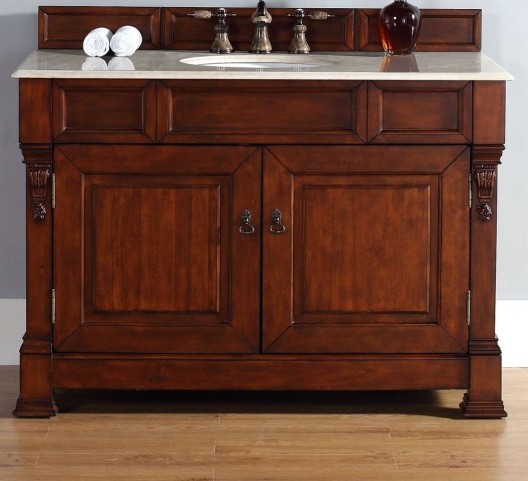 "Brookfield 48"" Warm Cherry Single Vanity With 2Cm Galala Beige Marble Top"