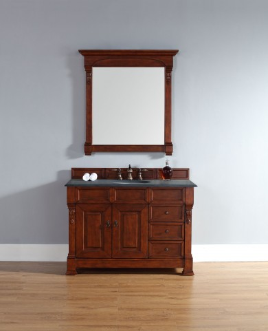 "Brookfield 48"" Warm Cherry Single Vanity With 2Cm Black Granite Top"