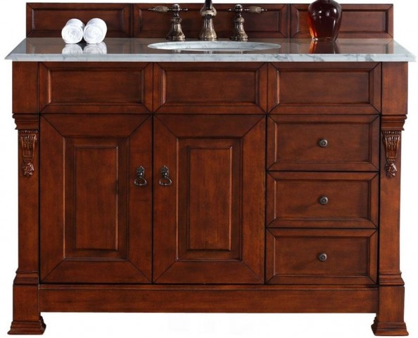 """Brookfield 48"""" Warm Cherry Single Vanity With 2Cm Carerra White Marble Top"""