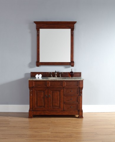 "Brookfield 48"" Warm Cherry Single Vanity With 2Cm Santa Cecilia Granite Top"