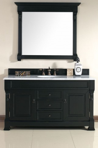 "Brookfield 60"" Antique Black Single Vanity With 2Cm Carerra White Marble Top"