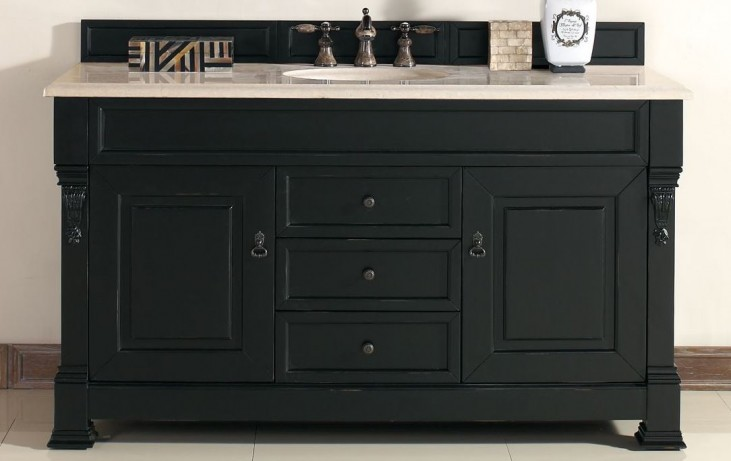 "Brookfield 60"" Antique Black Single Vanity With 2Cm Galala Beige Marble Top"