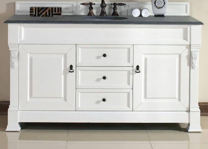 "Brookfield 60"" Cottage White Single Vanity With 2Cm Black Granite Top"