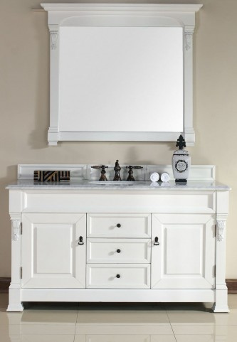 "Brookfield 60"" Cottage White Single Vanity With 2Cm Carerra White Marble Top"