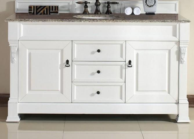 "Brookfield 60"" Cottage White Single Vanity With 2Cm Santa Cecilia Granite Top"