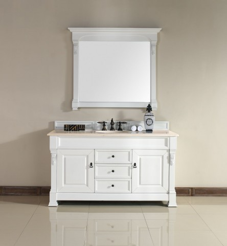 "Brookfield 60"" Cottage White Single Vanity With 2Cm Galala Beige Marble Top"