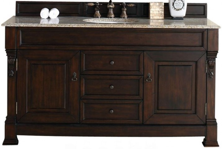 """Brookfield 60"""" Burnished Mahogany Single Vanity With 2Cm Carerra White Marble Top"""