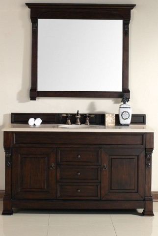 "Brookfield 60"" Burnished Mahogany Single Vanity With 2Cm Galala Beige Marble Top"