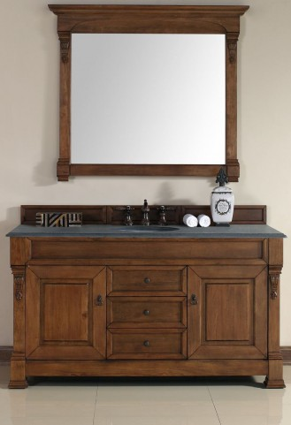 "Brookfield 60"" Country Oak Single Vanity With 2Cm Black Granite Top"