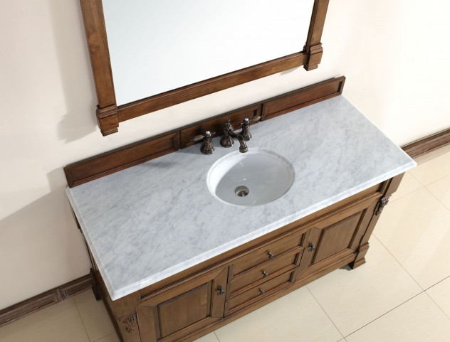 "Brookfield 60"" Country Oak Single Vanity With 2Cm Carerra White Marble Top"