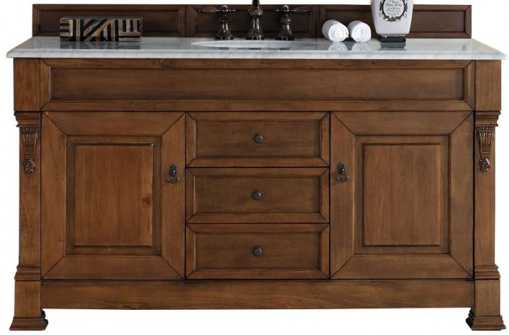"""Brookfield 60"""" Country Oak Single Vanity With 2Cm Carerra White Marble Top"""